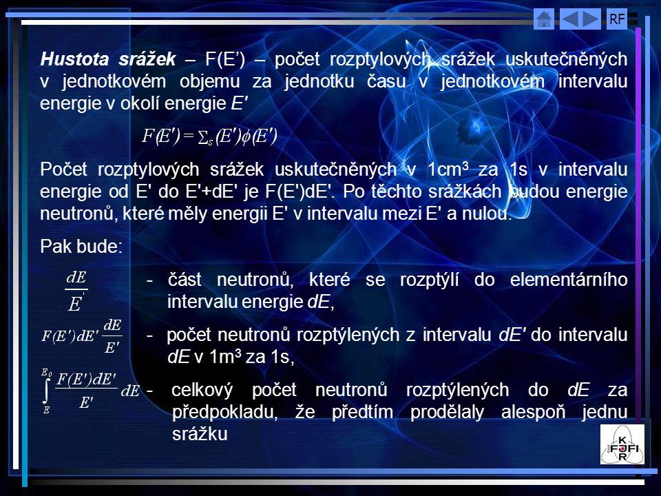 RF Hustota srážek – F(E') – počet rozptylových srážek uskutečněných v jednotkovém objemu za jednotku času v jednotkovém intervalu energie v okolí energie E Počet rozptylových srážek uskutečněných v 1cm 3 za 1s v intervalu energie od E do E +dE je F(E )dE .