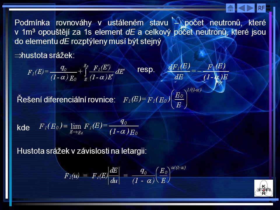 RF Podmínka rovnováhy v ustáleném stavu – počet neutronů, které v 1m 3 opouštějí za 1s element dE a celkový počet neutronů, které jsou do elementu dE rozptýleny musí být stejný  hustota srážek: resp.