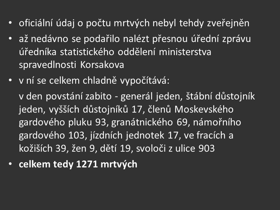 oficiální údaj o počtu mrtvých nebyl tehdy zveřejněn až nedávno se podařilo nalézt přesnou úřední zprávu úředníka statistického oddělení ministerstva spravedlnosti Korsakova v ní se celkem chladně vypočítává: v den povstání zabito - generál jeden, štábní důstojník jeden, vyšších důstojníků 17, členů Moskevského gardového pluku 93, granátnického 69, námořního gardového 103, jízdních jednotek 17, ve fracích a kožiších 39, žen 9, dětí 19, svoloči z ulice 903 celkem tedy 1271 mrtvých