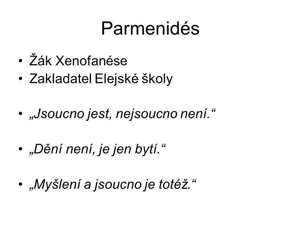 """Parmenidés Žák Xenofanése Zakladatel Elejské školy """"Jsoucno jest, nejsoucno není."""" """"Dění není, je jen bytí."""" """"Myšlení a jsoucno je totéž."""""""