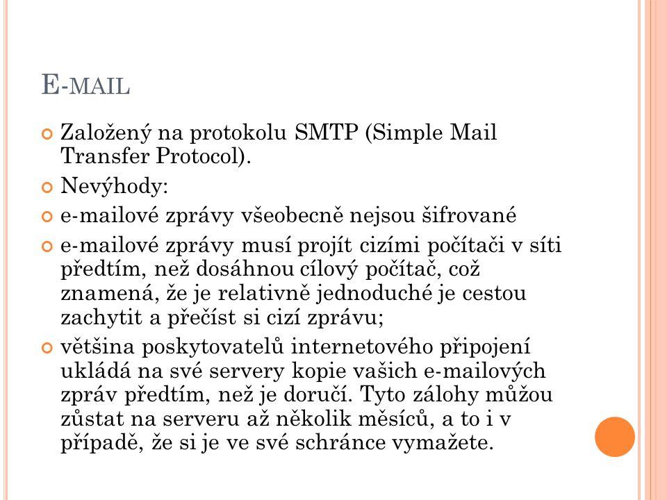 E- MAIL Založený na protokolu SMTP (Simple Mail Transfer Protocol). Nevýhody: e-mailové zprávy všeobecně nejsou šifrované e-mailové zprávy musí projít