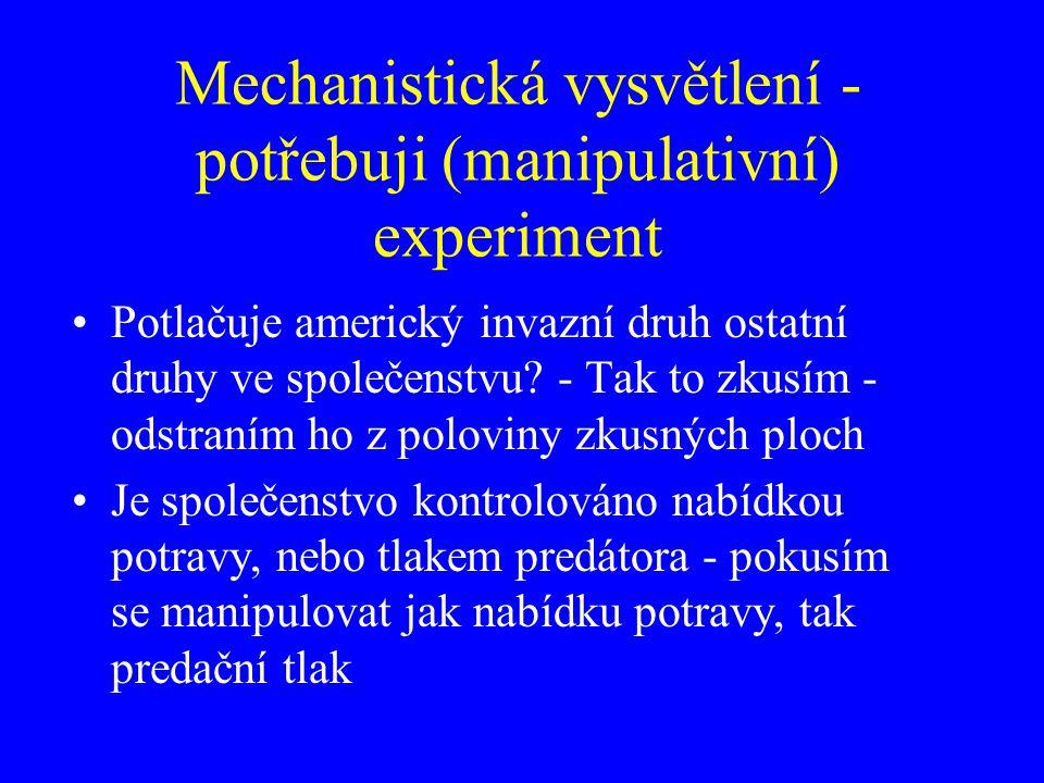 Mechanistická vysvětlení - potřebuji (manipulativní) experiment Potlačuje americký invazní druh ostatní druhy ve společenstvu? - Tak to zkusím - odstr
