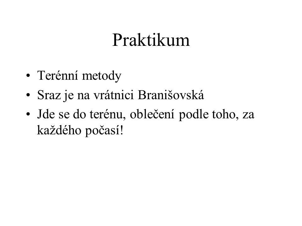 Praktikum Terénní metody Sraz je na vrátnici Branišovská Jde se do terénu, oblečení podle toho, za každého počasí!