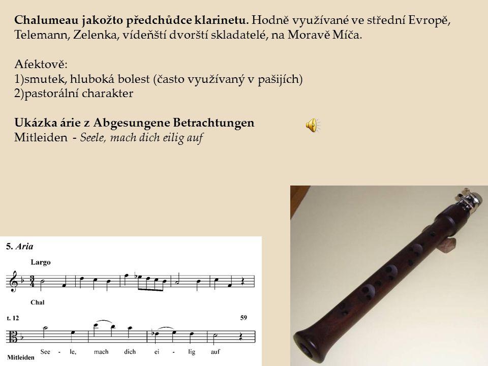 Chalumeau jakožto předchůdce klarinetu. Hodně využívané ve střední Evropě, Telemann, Zelenka, vídeňští dvorští skladatelé, na Moravě Míča. Afektově: 1