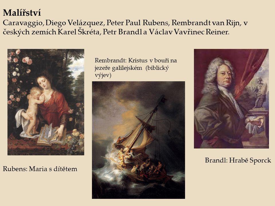Malířství Caravaggio, Diego Velázquez, Peter Paul Rubens, Rembrandt van Rijn, v českých zemích Karel Škréta, Petr Brandl a Václav Vavřinec Reiner. Rub