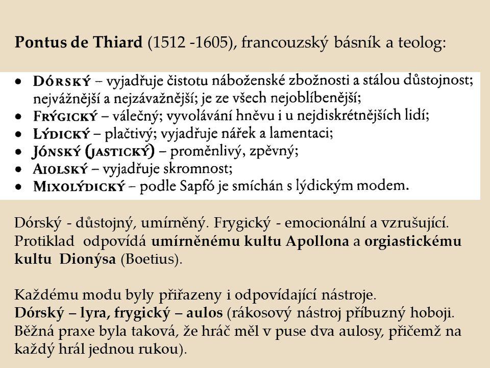Pontus de Thiard (1512 -1605), francouzský básník a teolog: Dórský - důstojný, umírněný. Frygický - emocionální a vzrušující. Protiklad odpovídá umírn