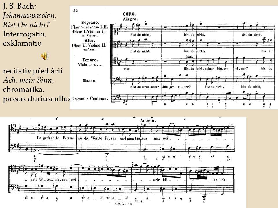 J. S. Bach: Johannespassion, Bist Du nicht? Interrogatio, exklamatio recitativ před árií Ach, mein Sinn, chromatika, passus duriuscullus