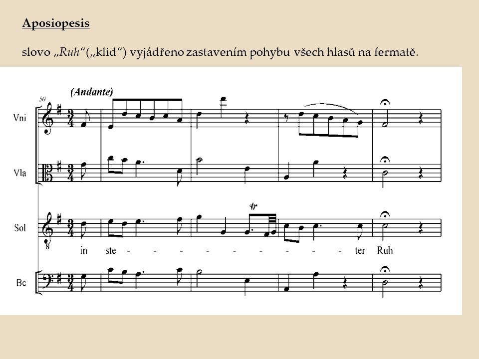 "Aposiopesis slovo ""Ruh""(""klid"") vyjádřeno zastavením pohybu všech hlasů na fermatě."