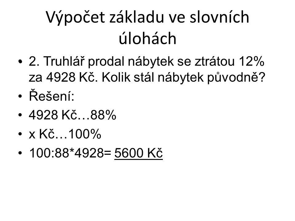2. Truhlář prodal nábytek se ztrátou 12% za 4928 Kč.