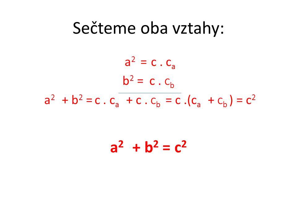 Sečteme oba vztahy: a 2 = c. c a b 2 = c. C b a 2 + b 2 = c.