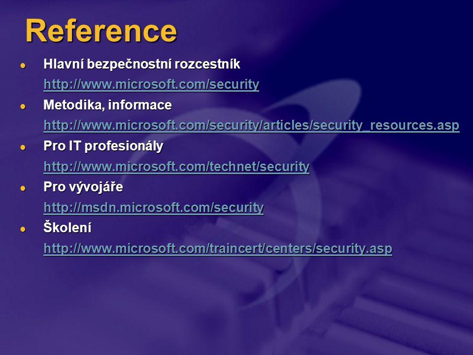Reference Hlavní bezpečnostní rozcestník Hlavní bezpečnostní rozcestník http://www.microsoft.com/security Metodika, informace Metodika, informace http://www.microsoft.com/security/articles/security_resources.asp Pro IT profesionály Pro IT profesionály http://www.microsoft.com/technet/security Pro vývojáře Pro vývojáře http://msdn.microsoft.com/security Školení Školení http://www.microsoft.com/traincert/centers/security.asp