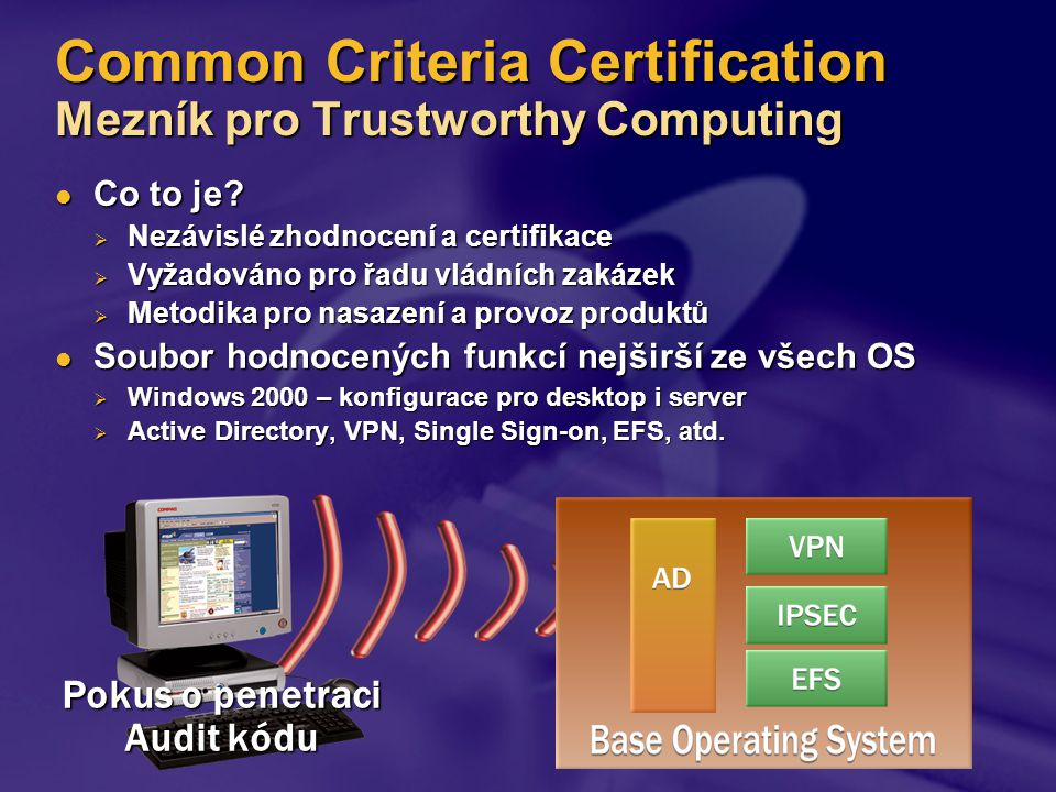 Common Criteria Certification Mezník pro Trustworthy Computing Co to je.