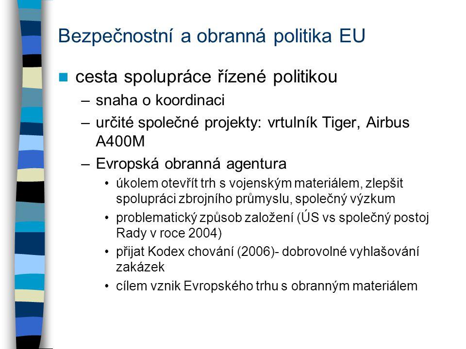 Bezpečnostní a obranná politika EU cesta spolupráce řízené politikou –snaha o koordinaci –určité společné projekty: vrtulník Tiger, Airbus A400M –Evropská obranná agentura úkolem otevřít trh s vojenským materiálem, zlepšit spolupráci zbrojního průmyslu, společný výzkum problematický způsob založení (ÚS vs společný postoj Rady v roce 2004) přijat Kodex chování (2006)- dobrovolné vyhlašování zakázek cílem vznik Evropského trhu s obranným materiálem