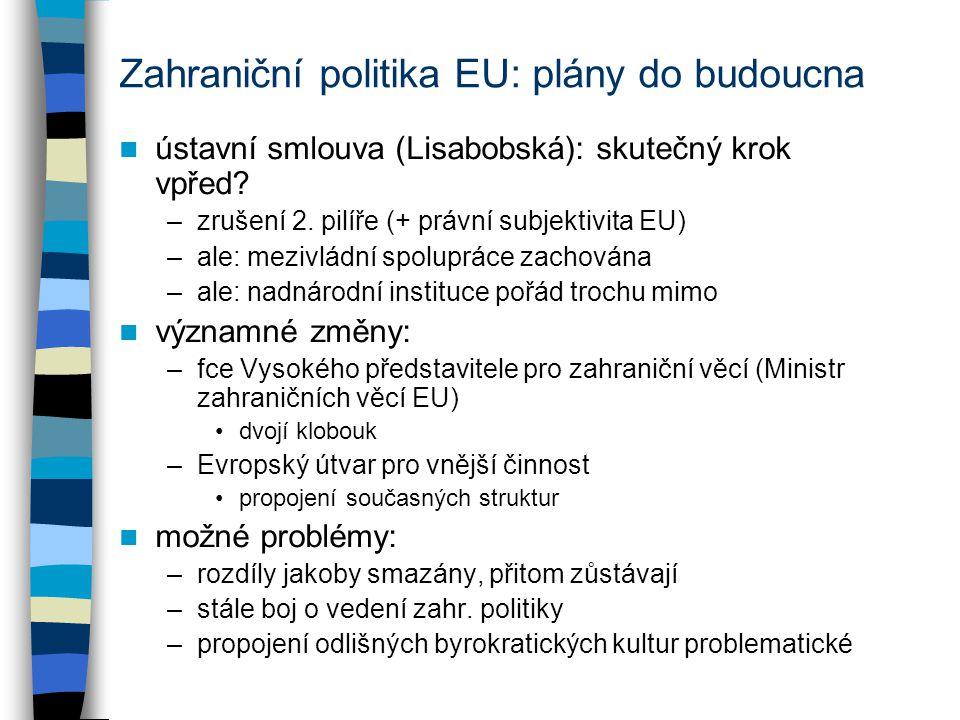Zahraniční politika EU: plány do budoucna ústavní smlouva (Lisabobská): skutečný krok vpřed.