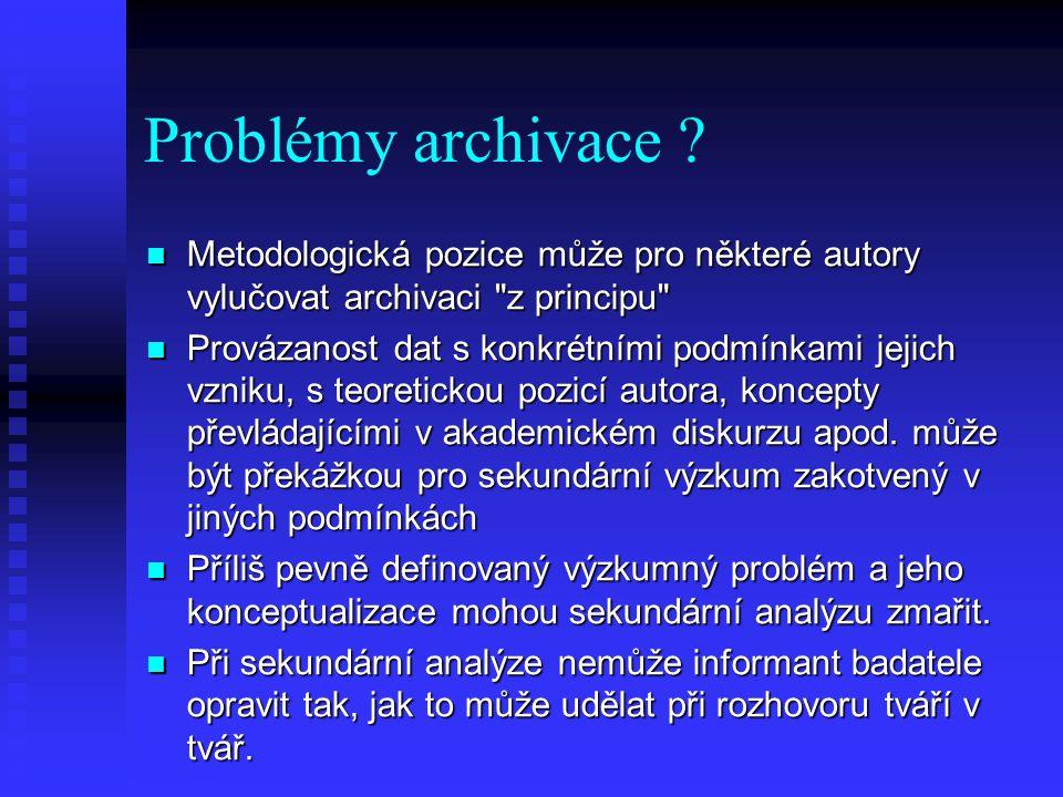 Problémy archivace .