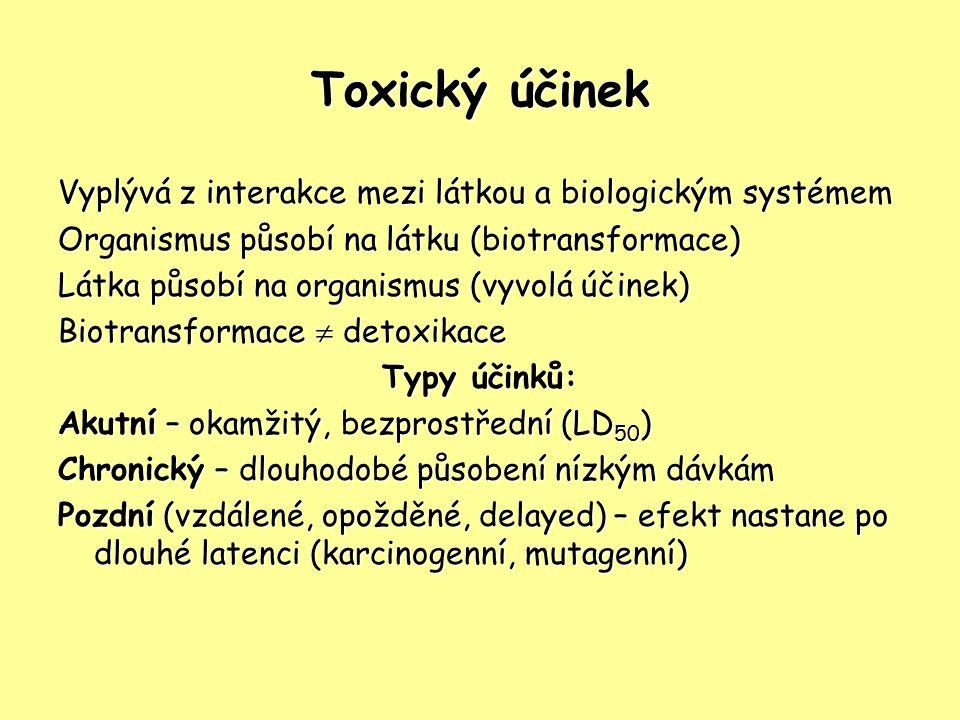 Toxický účinek Vyplývá z interakce mezi látkou a biologickým systémem Organismus působí na látku (biotransformace) Látka působí na organismus (vyvolá
