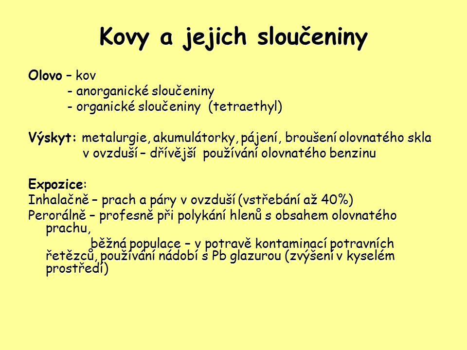 Kovy a jejich sloučeniny Olovo – kov - anorganické sloučeniny - anorganické sloučeniny - organické sloučeniny (tetraethyl) - organické sloučeniny (tet