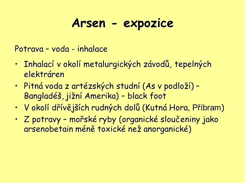 Arsen - expozice Potrava – voda - inhalace Inhalací v okolí metalurgických závodů,tepelných elektrárenInhalací v okolí metalurgických závodů, tepelnýc