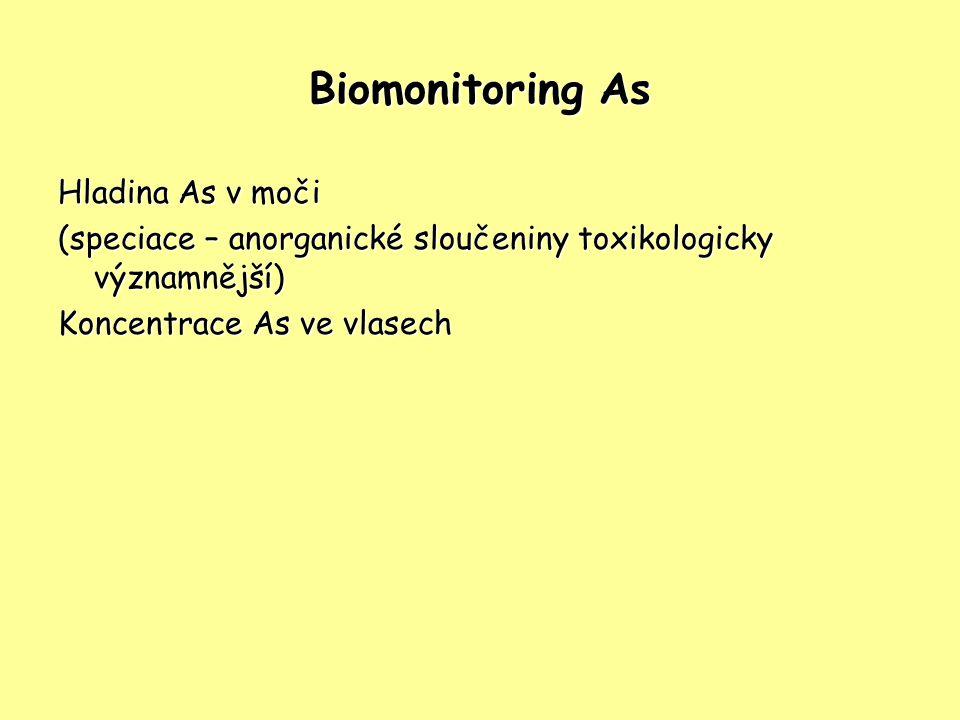 Biomonitoring As Hladina As v moči (speciace – anorganické sloučeniny toxikologicky významnější) Koncentrace As ve vlasech