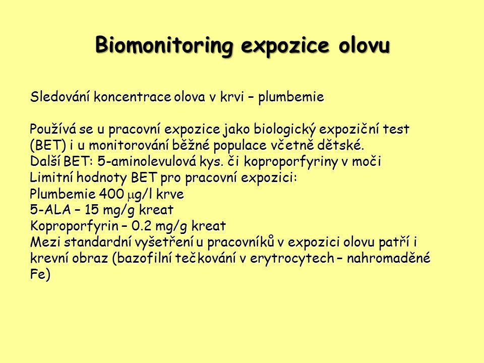Biomonitoring expozice olovu Sledování koncentrace olova v krvi – plumbemie Používá se u pracovní expozice jako biologický expoziční test (BET) i u monitorování běžné populace včetně dětské.