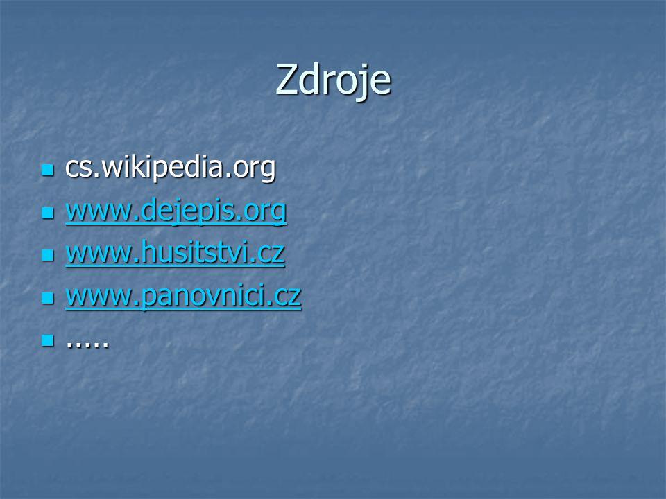 Zdroje cs.wikipedia.org cs.wikipedia.org www.dejepis.org www.dejepis.org www.dejepis.org www.husitstvi.cz www.husitstvi.cz www.husitstvi.cz www.panovn