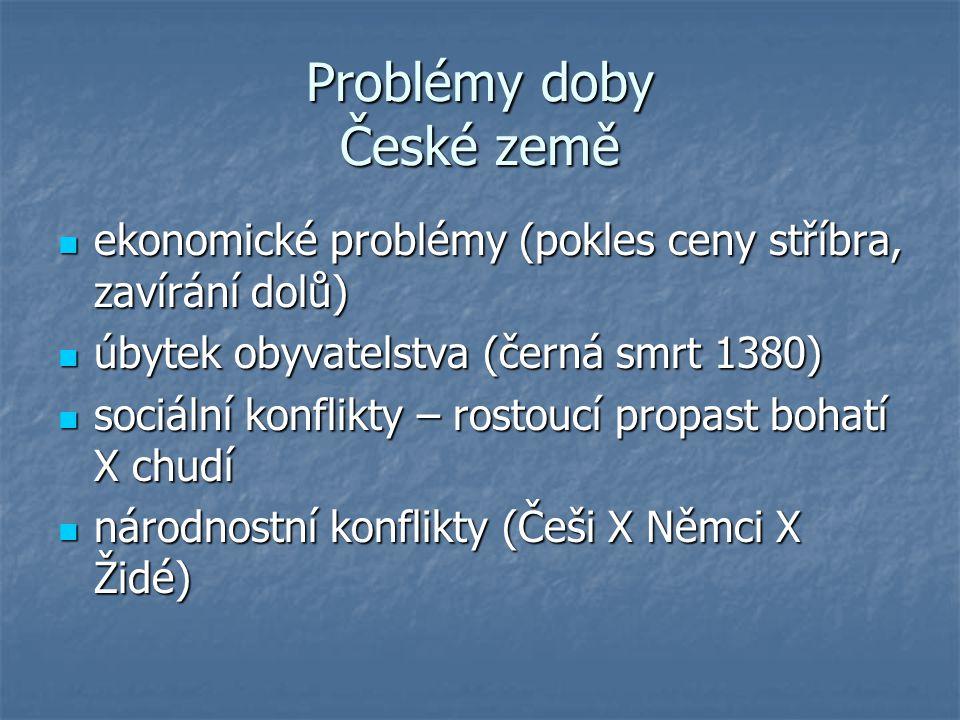 Problémy doby České země ekonomické problémy (pokles ceny stříbra, zavírání dolů) ekonomické problémy (pokles ceny stříbra, zavírání dolů) úbytek obyv