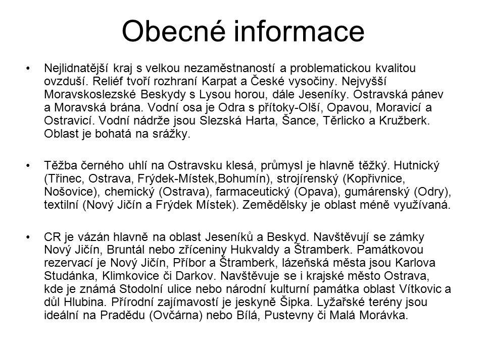 Obecné informace Nejlidnatější kraj s velkou nezaměstnaností a problematickou kvalitou ovzduší. Reliéf tvoří rozhraní Karpat a České vysočiny. Nejvyšš