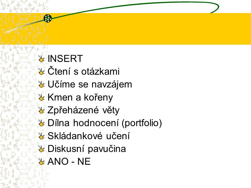 INSERT Čtení s otázkami Učíme se navzájem Kmen a kořeny Zpřeházené věty Dílna hodnocení (portfolio) Skládankové učení Diskusní pavučina ANO - NE