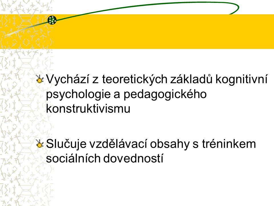 Vychází z teoretických základů kognitivní psychologie a pedagogického konstruktivismu Slučuje vzdělávací obsahy s tréninkem sociálních dovedností