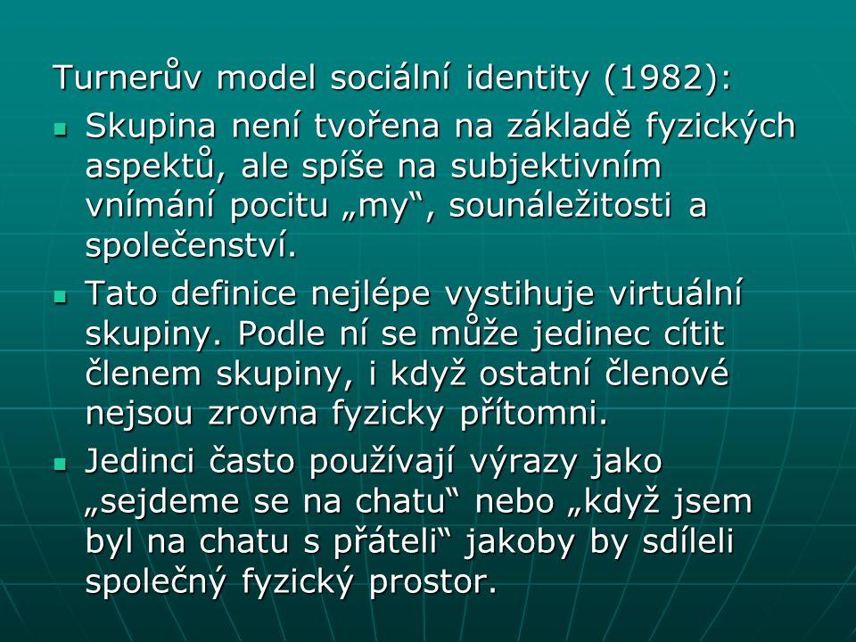"""Turnerův model sociální identity (1982): Skupina není tvořena na základě fyzických aspektů, ale spíše na subjektivním vnímání pocitu """"my"""", sounáležito"""
