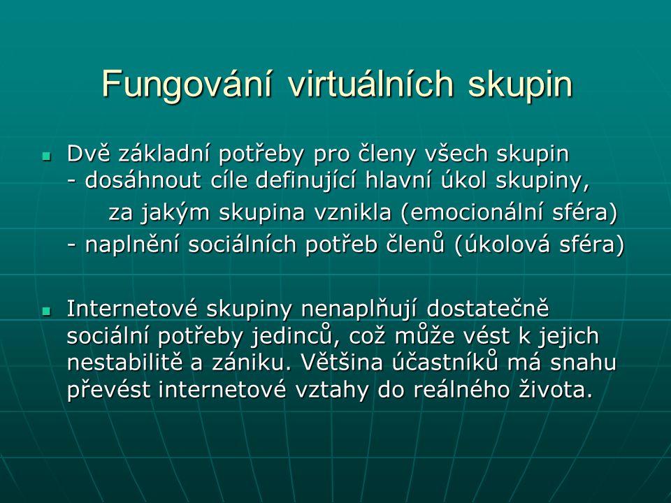 Fungování virtuálních skupin Dvě základní potřeby pro členy všech skupin - dosáhnout cíle definující hlavní úkol skupiny, Dvě základní potřeby pro čle