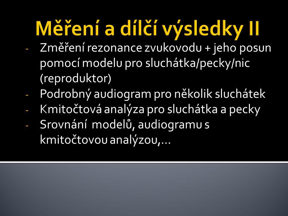 - Změření rezonance zvukovodu + jeho posun pomocí modelu pro sluchátka/pecky/nic (reproduktor) - Podrobný audiogram pro několik sluchátek - Kmitočtová analýza pro sluchátka a pecky - Srovnání modelů, audiogramu s kmitočtovou analýzou,…