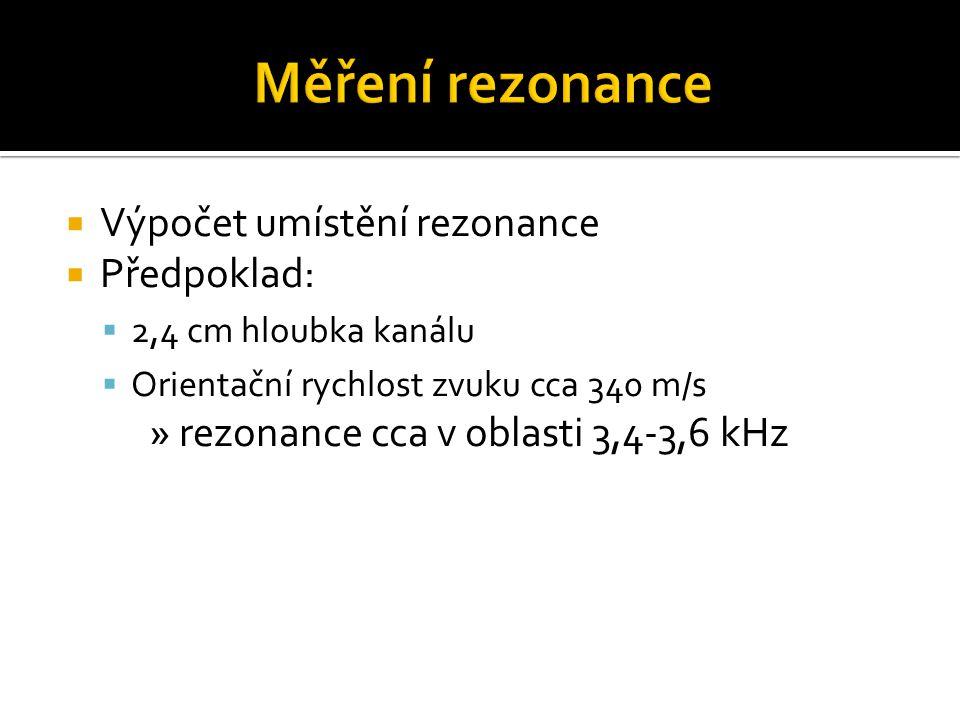  Výpočet umístění rezonance  Předpoklad:  2,4 cm hloubka kanálu  Orientační rychlost zvuku cca 340 m/s » rezonance cca v oblasti 3,4-3,6 kHz