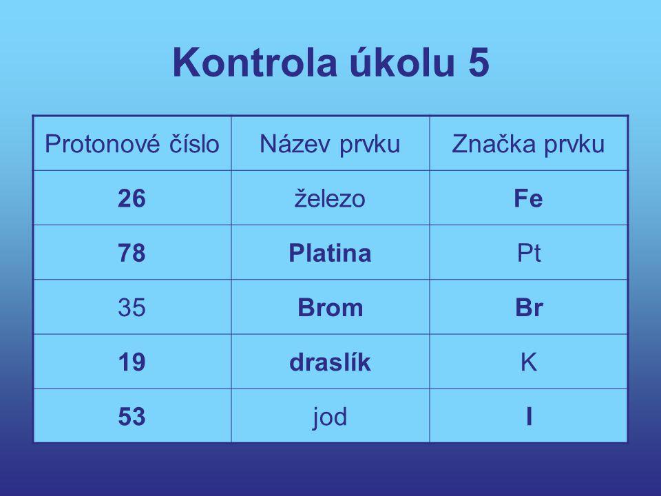 Kontrola úkolu 5 Protonové čísloNázev prvkuZnačka prvku 26železoFe 78PlatinaPt 35BromBr 19draslíkK 53jodI
