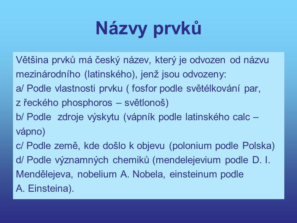 Názvy prvků Většina prvků má český název, který je odvozen od názvu mezinárodního (latinského), jenž jsou odvozeny: a/ Podle vlastnosti prvku ( fosfor