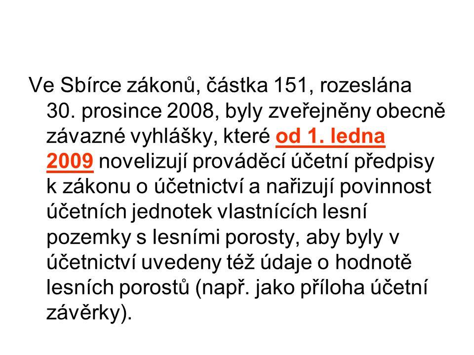 Ve Sbírce zákonů, částka 151, rozeslána 30. prosince 2008, byly zveřejněny obecně závazné vyhlášky, které od 1. ledna 2009 novelizují prováděcí účetní