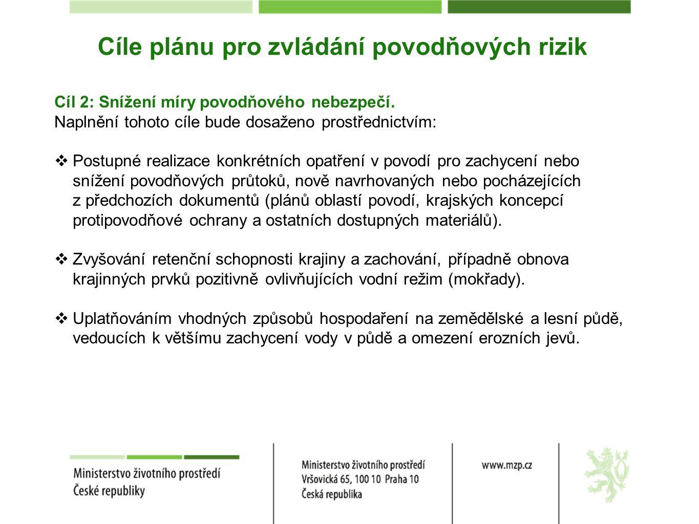 Cíle plánu pro zvládání povodňových rizik Cíl 2: Snížení míry povodňového nebezpečí. Naplnění tohoto cíle bude dosaženo prostřednictvím:  Postupné re