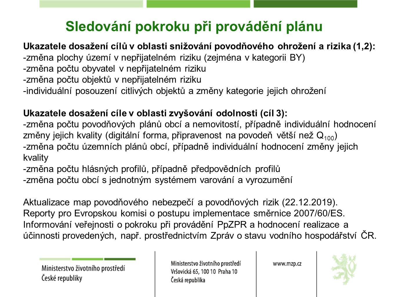 Sledování pokroku při provádění plánu Ukazatele dosažení cílů v oblasti snižování povodňového ohrožení a rizika (1,2): -změna plochy území v nepřijate