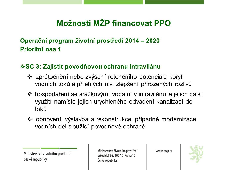 Možnosti MŽP financovat PPO Operační program životní prostředí 2014 – 2020 Prioritní osa 1  SC 3: Zajistit povodňovou ochranu intravilánu  zprůtočně