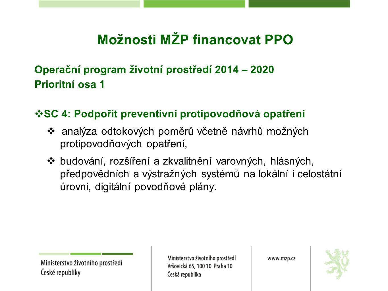 Operační program životní prostředí 2014 – 2020 Prioritní osa 1  SC 4: Podpořit preventivní protipovodňová opatření  analýza odtokových poměrů včetně