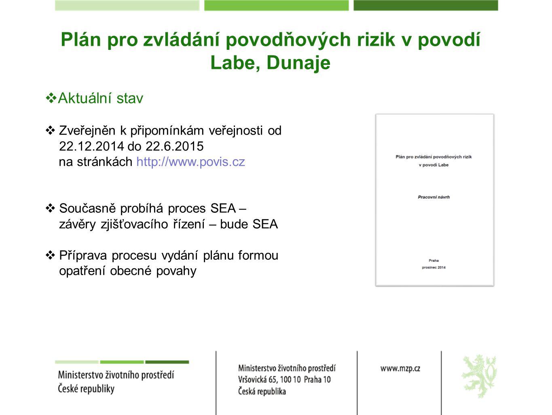 Plán pro zvládání povodňových rizik v povodí Labe, Dunaje  Aktuální stav  Zveřejněn k připomínkám veřejnosti od 22.12.2014 do 22.6.2015 na stránkách