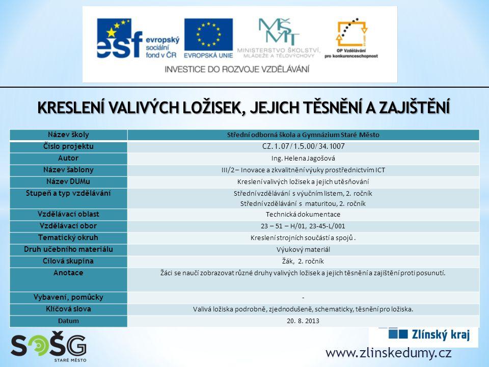www.zlinskedumy.cz Název školy Střední odborná škola a Gymnázium Staré Město Číslo projektuCZ.1.07/1.5.00/34.1007 Autor Ing.