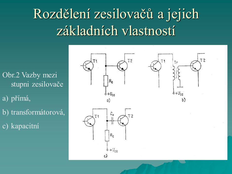 Rozdělení zesilovačů a jejich základních vlastností Obr.2 Vazby mezi stupni zesilovače a)přímá, b)transformátorová, c)kapacitní