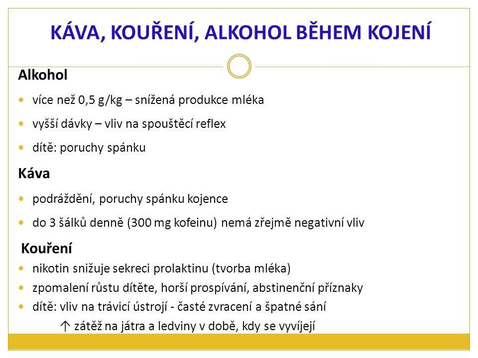 Alkohol více než 0,5 g/kg – snížená produkce mléka vyšší dávky – vliv na spouštěcí reflex dítě: poruchy spánku Káva podráždění, poruchy spánku kojence