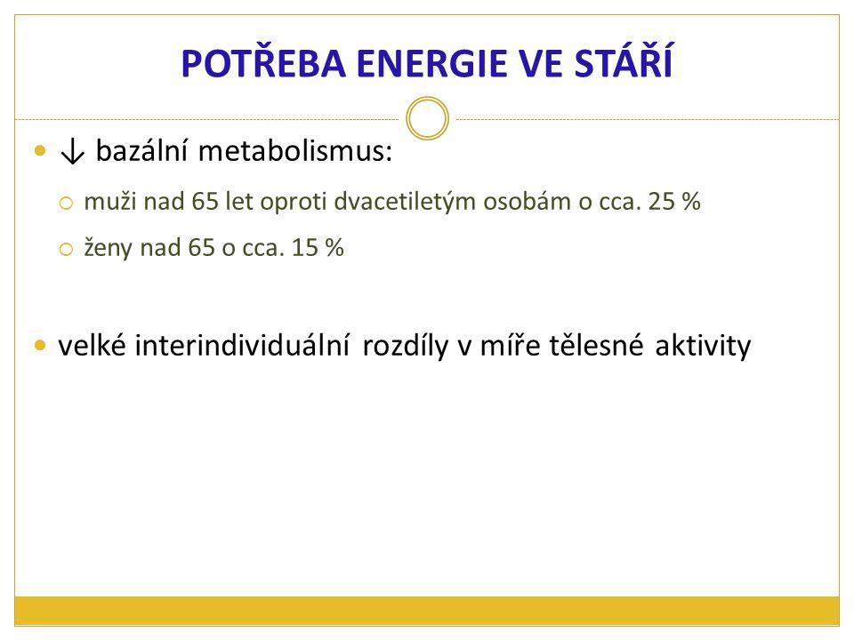 ↓ bazální metabolismus:  muži nad 65 let oproti dvacetiletým osobám o cca. 25 %  ženy nad 65 o cca. 15 % velké interindividuální rozdíly v míře těle