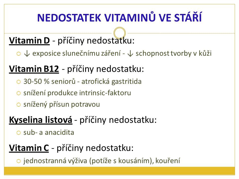 Vitamin D - příčiny nedostatku:  ↓ exposice slunečnímu záření - ↓ schopnost tvorby v kůži Vitamin B12 - příčiny nedostatku:  30-50 % seniorů - atrof