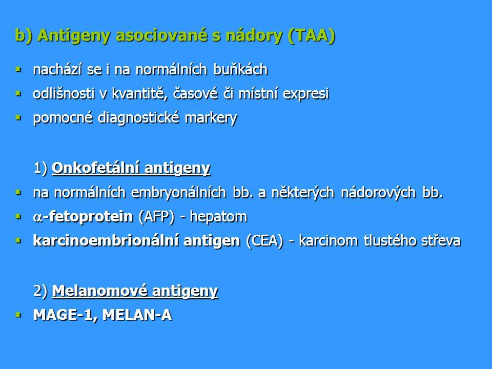 b) Antigeny asociované s nádory (TAA)  nachází se i na normálních buňkách  odlišnosti v kvantitě, časové či místní expresi  pomocné diagnostické ma