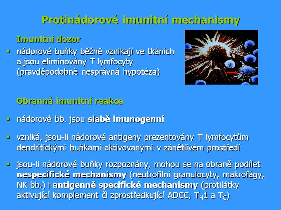 Protinádorové imunitní mechanismy Imunitní dozor Imunitní dozor  nádorové buňky běžně vznikají ve tkáních a jsou eliminovány T lymfocyty (pravděpodob