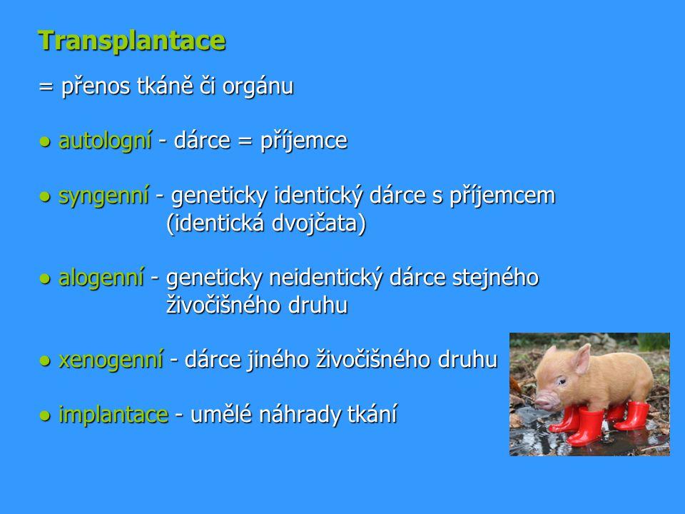 Transplantace = přenos tkáně či orgánu ● autologní - dárce = příjemce ● syngenní - geneticky identický dárce s příjemcem (identická dvojčata) ● alogen