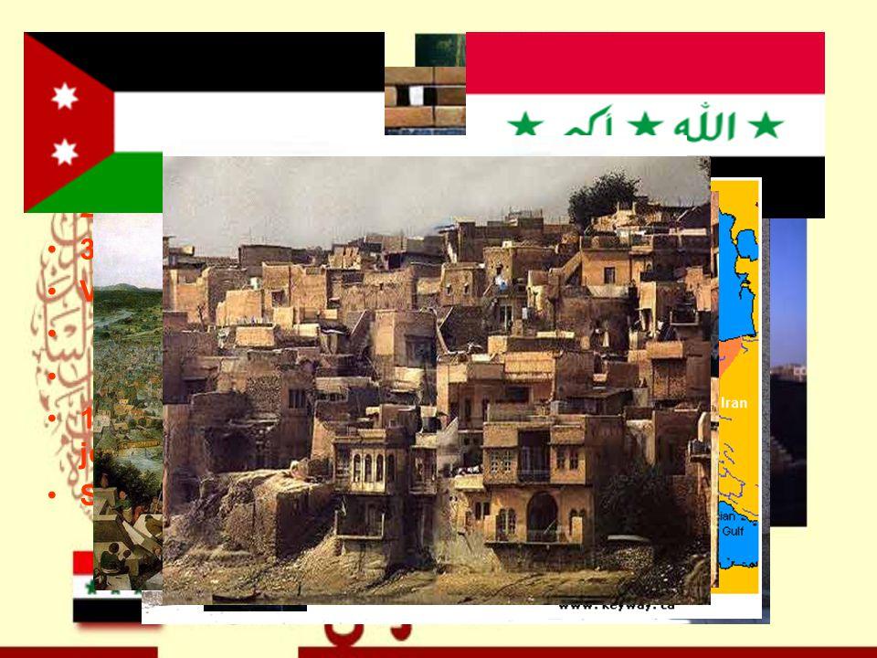Zajímavosti Babylon = Brána Boží (zal.v akkadském období) 2. největší město Basra (zal. r. 637) 3. největší město Mosul Vývoj irácké vlajky 1. Královs